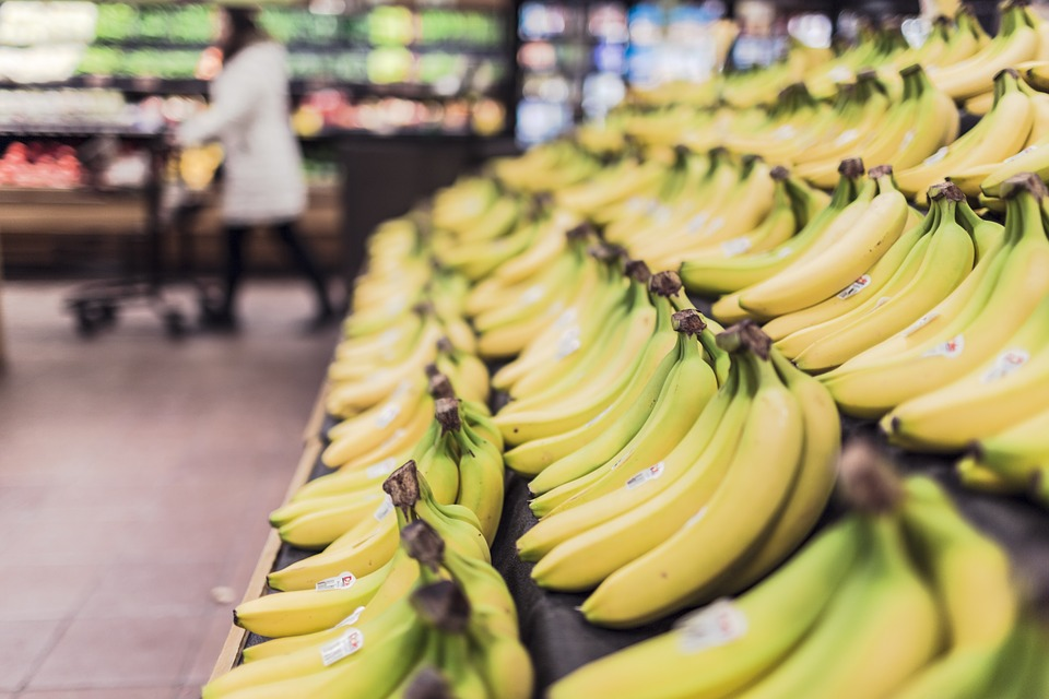 Bananas at a grocery store