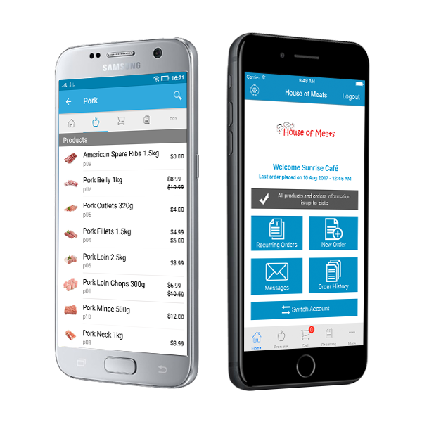 An android and iPhone displaying the order management app