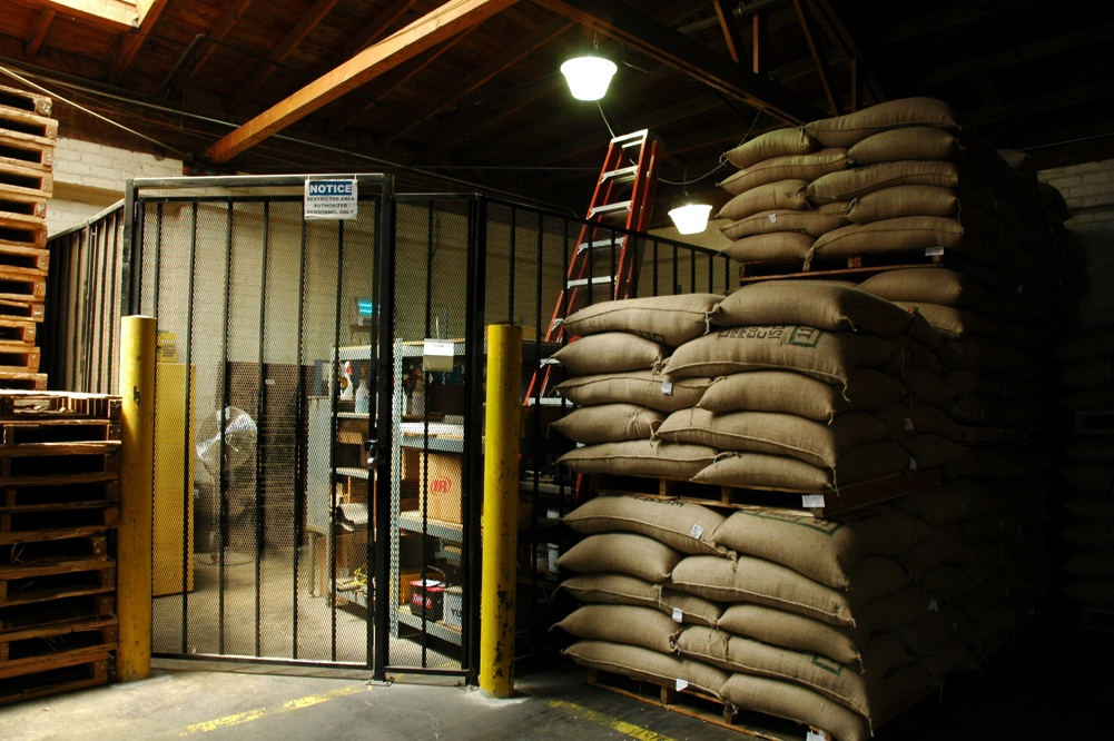 A warehouse with sacks of food supplies